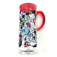 Disney Store Red Clear Infuser Pitcher Acrylic Mickey Mouse Summer Fun