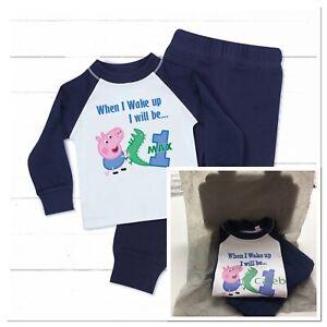 Personalised Peppa Pig George baby Boys pyjamas Birthday when i wake up 1 2 3 4