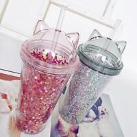 Plastic BPA Water Bottle with Straw Cups Flash Cat Ear Double Drinking Drinkware