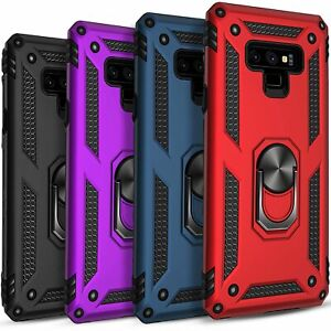 For Samsung Galaxy Note 9 Case, Ring Kickstand Cover+ Tempered Glass Protector