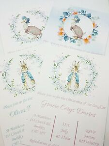 Christening Invitations Beatrix Potter Themed Packs of 10 COMPLETE with envelope