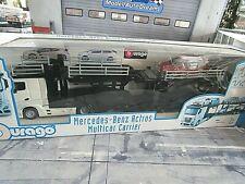 MERCEDES BENZ Actros 2545 LKW Truck Autotransporter + Ford Focus Bburago 1:43