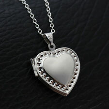 925 Silver Chain Necklace Heart Locket Crystal Zircon Pendant Xmas Jewelry