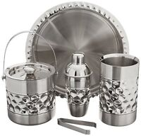 Stainless Steel Cocktail Shaker Mixer Ice Bucket, Wine Chiller & Serving Tray