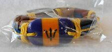 Barbados Flag Fashion Leather Bracelet Adjustable Pull Cords!