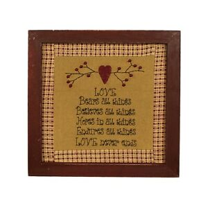 Primitives Love Never Ends Stitchery Frame Wall Mounted Hanging Decor Art
