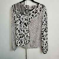 CAbi Animal Print Faux Wrap Tie Front Top Blouse Medium Style #590