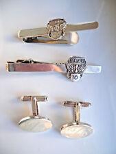 Unusual HM Sterling Silver Tie Pins / Money Clips & Cufflinks A.B. & S