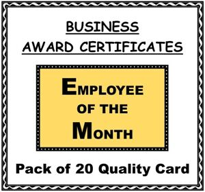 Business Award Certificates 'Employee of the Month' 20 Quality Card A5 Size