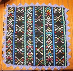"2 GUATEMALAN Pillow Covers HAND WOVEN Cotton Purple Trim ZIPPER NEW OS 17X17"""