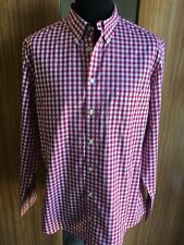 CHARLES TYRWHITT WEEKEND SHIRT LARGE RED GINGHAM CHECK NON IRON SLIM FIT