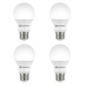 EcoSmart 100-Watt Equivalent A19 Non-Dimmable LED Light Bulb Soft White (4-Pack)