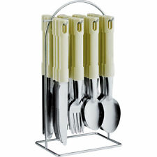 24PC STAINLESS STEEL CUTLERY SET WITH FORKS NIVES SPOONS TEA AND METAL STAND