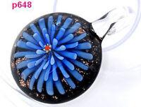 1pc round flower lampwork art glass beaded pendant necklace p648