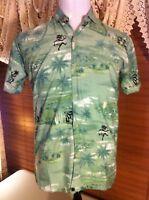 Mens RIMA S Small Hawaiian Camp Shirt Kiwi Green 100% Terivoile  EUC