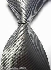New Classic Solid Stripes Silver JACQUARD WOVEN 100% Silk Men's Tie Necktie