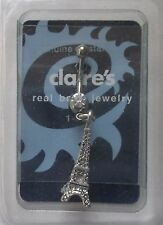 """cc Dangle Eiffel Tower charm 14g 3/8"""" surgical steel BELLY RING body jewelry"""
