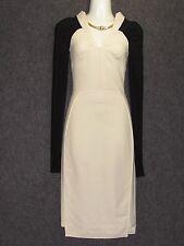 ANTONIO BERARDI Sleek White Black Wool Blend Long Sleeves DRESS SZ 38