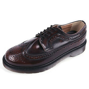 Men's Round Toe Wing Tips Long Brogue Comfy Open Lacing Thick Sole Brown Oxfords