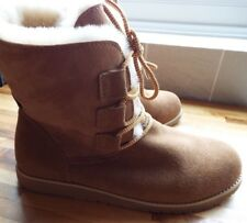 Emu Beach Collection Illawong Lace Up Sheepskin & Suede Boot Chestnut Size 7 new