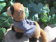 Ferret Harness - Blue with Dainty Orange Flowers - M