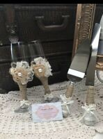 Wedding Supplies Cake Knife, Pie Server Set and 2Toasting Champagne Flutes