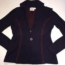 Anthropologie Rosie Neira Navy Blue & Red Polka Dot Sweater Cardigan Jacket Sz M