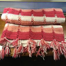 Handmade Striped Crochet Afghan Afgan Throw Blanket Pink White