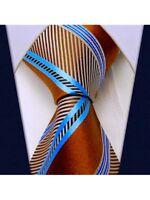 Scott Allan Mens Azure Striped Necktie - Brown and Blue Mens Tie