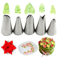 5Pcs Leaves Nozzles Stainless Steel Icing Piping Nozzles Tips Pastry Cake DH_js