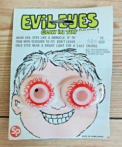 Vintage Novelty Glow In The Dark Evil Eyes Old Joke Shop Stock Halloween