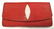 Genuine Stingray Wallets Skin Leather Long Trifold Clutch Women's Wallet Red