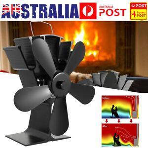 Heat Self-Powered Wood Stove Top Burner Fireplace Silent Eco Heater Fan 5 Blade