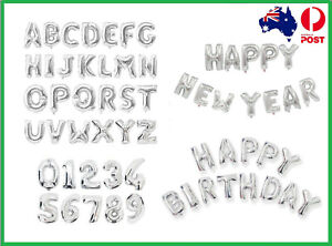 """16"""" Silver Foil Balloons Alphabet Letter Number Birthday Party Wedding (35-40cm)"""