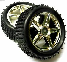 06026 1/10 Scale Off Road RC R/C Buggy Rear Wheels and Tyres x2 Silver 5 Spoke