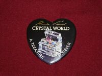 VINTAGE PIN BACK BUTTON CRYSTAL WORLD A TREASURE FOREVER