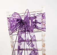 BUTTERFLY FLOCK ORGANZA SASHES BOWS , HODDS AND TABLE RUNNERS WEDDING CHAIRS