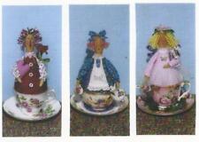 Pattern-Primitive Tea Cup Dollies- 3 Different-Happy Heart Patterns