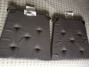 2 Ikea JUSTINA Chair Pad Cushion Seat Pads Soft dark grey 42/35x40x4cm Useful