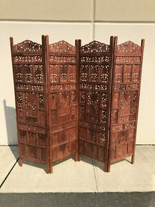 Traditional Moorish Design Four-Panel Wooden Partition / Screen Divider
