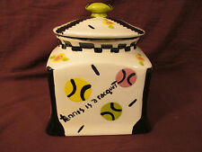 1999 HAND MADE COOKIE COFFEE JAR BETTE ABRAMS DIAMOND IN THE ROUGH  POTTERY