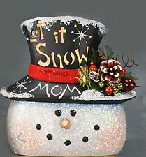 Ceramic Bisque~~ Ready to Paint ~~Country Snowman Head Clipin Light Included
