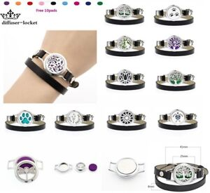 25mm Alloy Aromatherapy Essential Oil Bracelet Leather Wrap Locket Diffuser pads