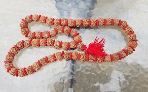 Hindu LARGE Rudeaksha Rudraksha Mala Beads Prayer Meditation Necklace Handmade