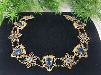 Antique VICTORIAN Gargoyle Choker Necklace Sky Blue Unfoiled Stones VERY RARE