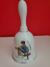 Norman Rockwell Collectible Missing The Dance 24 Kt Gold Trim Ceramic Bell-F/S