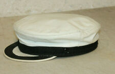 VINTAGE WHITE LEATHER BIKER MOTORCYCLE CAPTAIN HAT CAP