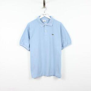 M6 Vtg Lacoste Polo Mens Light Blue Short Sleeve Cotton Shirt Size 7 XXL