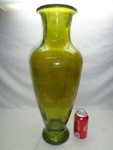 Vtg Heavy Glass Floor or Large Table Vase Art Deco Mcm Shabby Boho Chic Decor