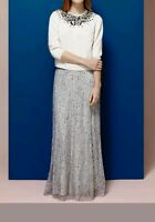 COAST * EVIE * SEQUINED GREY MELAN MAXI SKIRT SIZE 10 NEW WITH TAGS